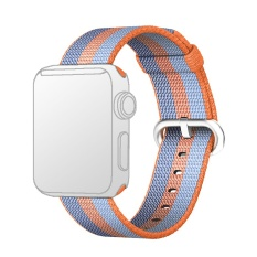 Miliki Segera Fashion Colored Woven Nylon Fabric Replacement Band Strap Bracelet Wrist Belt For Apple Watch Iwatch 38Mm Blue Orange Intl