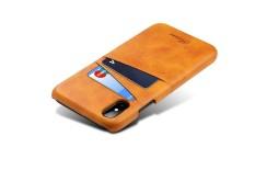 Kreatif Lembut Kulit Sampul Belakang dengan Pemegang Kartu Tahan Lama Non-slip Anti Guncangan Yg Penuh Pelindung Telepon Case untuk iPhone X-Internasional
