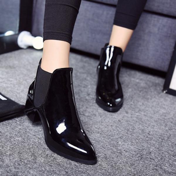 Jual Fashion Elastis Band Menunjuk Blok Patent Leather Ankle Boots Untuk Wanita Intl Lengkap