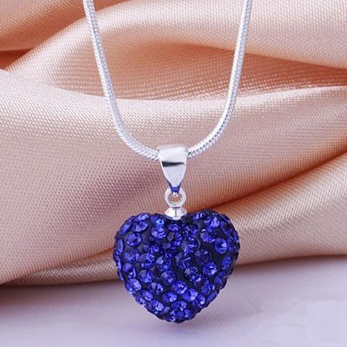 Fashion Heart Crystal 925 Sterling Silver Ular Rantai Liontin Kalung Perhiasan