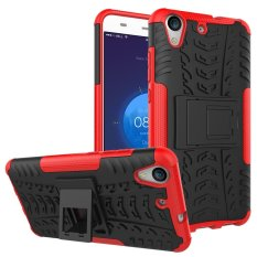 Fashion Heavy Duty Shockproof Dual Layer Hybrid Armor Protective Cover with Kickstand Case for Huawei Honor 5A / Y6II Y6 2 / Holly 3 - intl