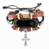 Harga Fashion Knitting Salib Yang Diukir Beaded Gelang Gaya Replacement Watch Band Wristband Wrist Strap For Mi Band 2 Fitness Tracker Watchband New