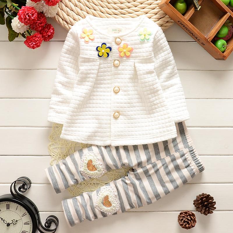 Review Pada Fashion Musim Gugur Lengan Panjang Pakaian Bayi Baju Putih Warna Coat Dan Celana Bergaris Set Intl