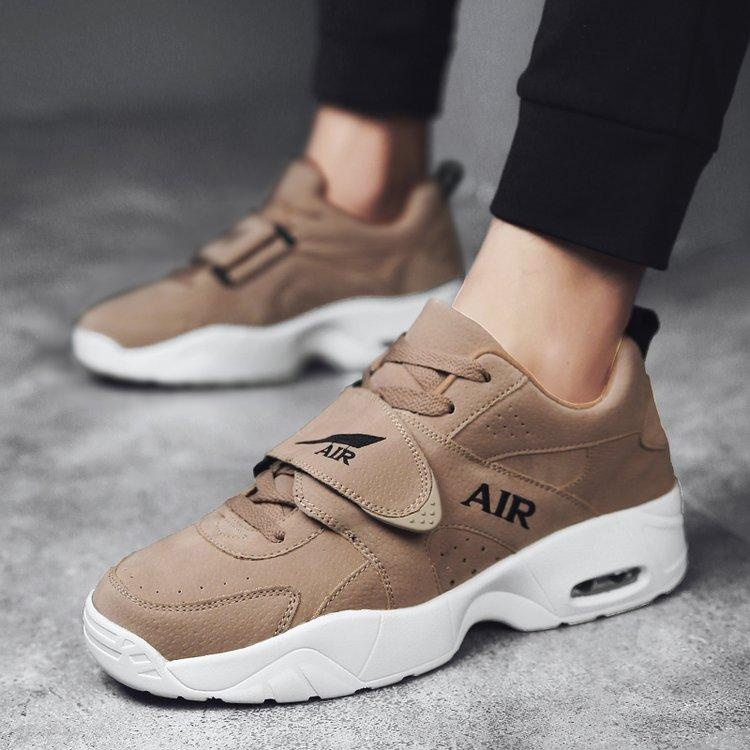 Fashion Pria dan Wanita Sepatu Lari Basket Sepatu Mesh Bernapas Sepatu Olahraga Udara Bantalan Bantal Sepatu Kasual (Khaki) -Intl