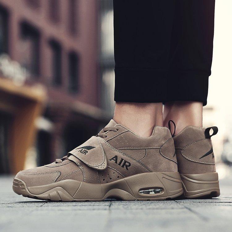 Fashion Pria dan Wanita Sepatu Lari Basket Sepatu Mesh Bernapas Sepatu Olahraga Udara Bantalan Cushion CASUAL Sepatu (Cokelat Kehitaman) -Intl