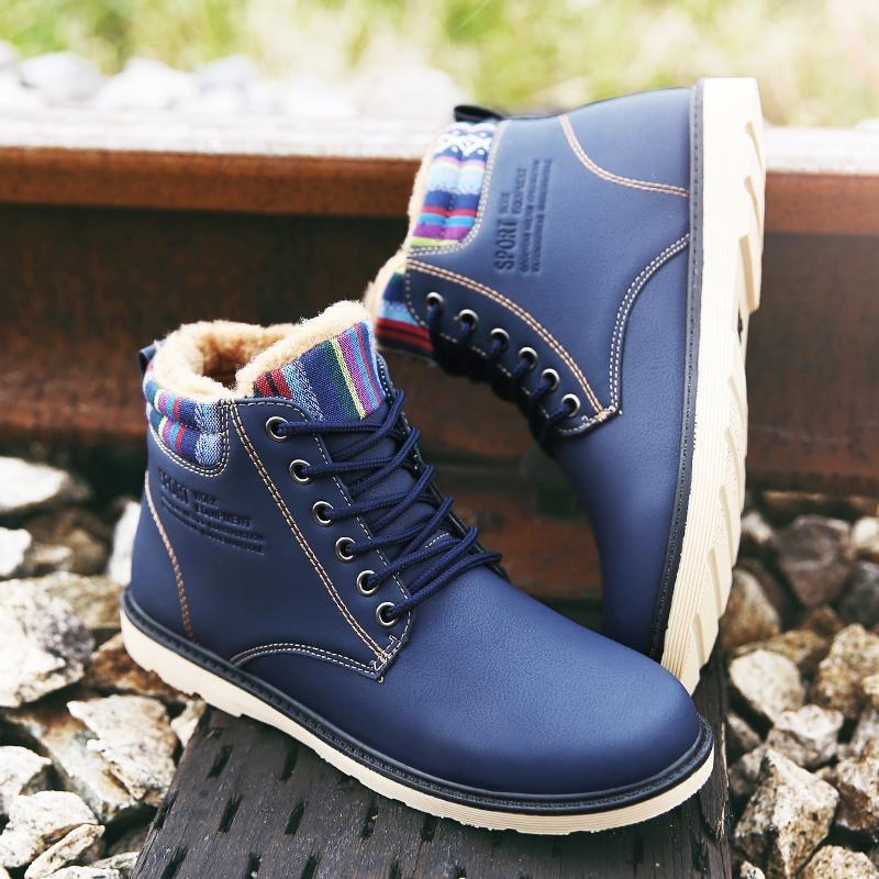 Harga Fashion Pria Sepatu Bot Musim Dingin Pria Sepatu Hangat Leather Boots Intl Seken