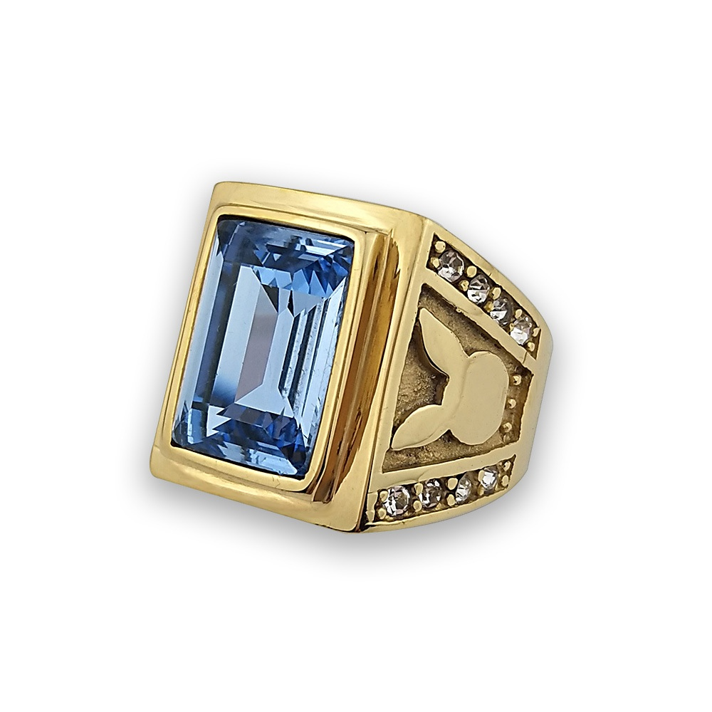 Harga Fashion Rabbit Big Batu Aquamarine Ring Untuk Pria Vintage Desain Berlapis Emas Perhiasan Ide Hadiah Besar Ukuran Us 7 11 Intl Oem Terbaik