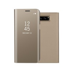 Modis Anti Guncangan Ultra Tipis Elektroplating Pu Case Sarung Cermin Bebas Lipat Anti-Menggaruk Pelindung Case untuk Samsung Galaksi Note 8 Warna: mawar Merah