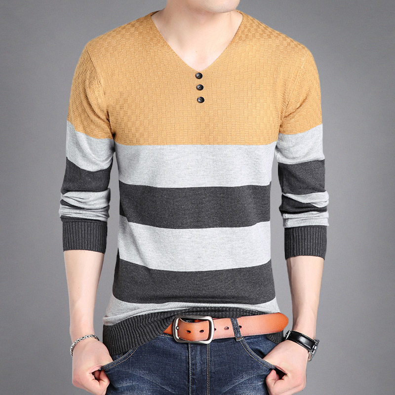Cuci Gudang Fashion Supreme Kaos Pria Lengan Panjang Bahan Katun Kerah V Motif Bergaris 5928 Kuning Baju Atasan Kaos Pria Kemeja Pria