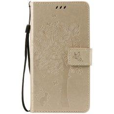 Fashion Pohon Pelindung Berdiri Dompet Dompet Kartu Kredit Pemegang Magnetic Flip Folio TPU Soft Bumper PU Leather Ultra Slim Fit Case Cover untuk Huawei Honor 5A/Y6II Y6 2/Holly 3-Intl