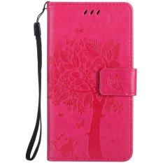 Fashion Pohon Pelindung Berdiri Dompet Dompet Kartu Kredit Pemegang Magnetic Flip Folio TPU Soft Bumper PU Leather Ultra Slim Fit Case Cover untuk Nokia Lumia 650-Intl