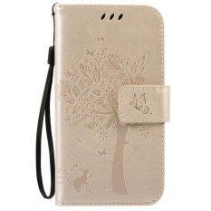 Fashion Pohon Pelindung Berdiri Dompet Dompet Kartu Kredit Pemegang Magnetic Flip Folio TPU Soft Bumper PU
