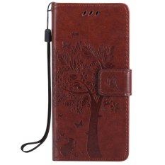 Fashion Tree Protective Stand Wallet Purse Credit Card ID Holders Magnetic Flip Folio TPU Soft Bumper PU Leather Ultra Slim Fit Case Cover for Sony Xperia E5