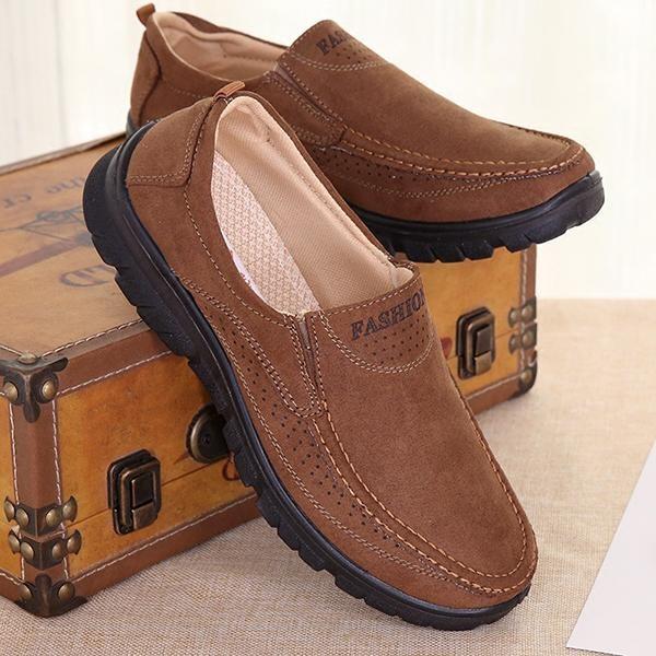 Modis Ukuran Besar Pria Kain Bernapas Nyaman Kasual Tergelincir Loafer Sepatu-Internasional
