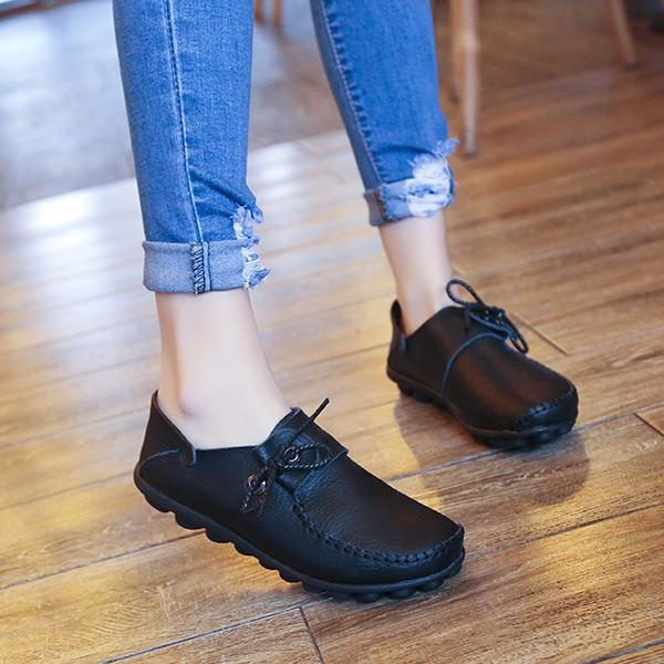 Beli Fashion Us Ukuran 5 12 Wanita Renda Sepatu Lembut Nyaman Kulit Flats Perahu Sepatu Loafers Not Specified Online
