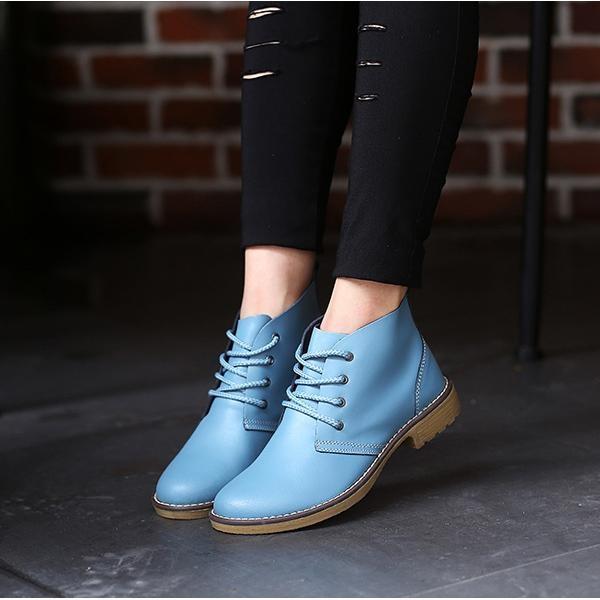 Fashion Wanita Ukuran Besar Kulit Lace Up Ankle Knight Martin Boots Di Tiongkok