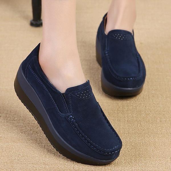 Harga Fashion Wanita Ukuran Besar Rocker Sole Suede Casual Wedges Sepatu Intl Hong Kong Sar Tiongkok
