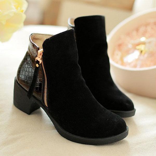 Fashion Wanita Ukuran Besar Sisi Zipper Square Tumit Kasual Ankle Musim Dingin Pendek Boots-Intl