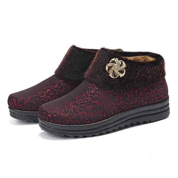 Spesifikasi Fashion Women Flower Pattern Fur Lining Vintage Winter Warm Ankle Boots Intl Baru