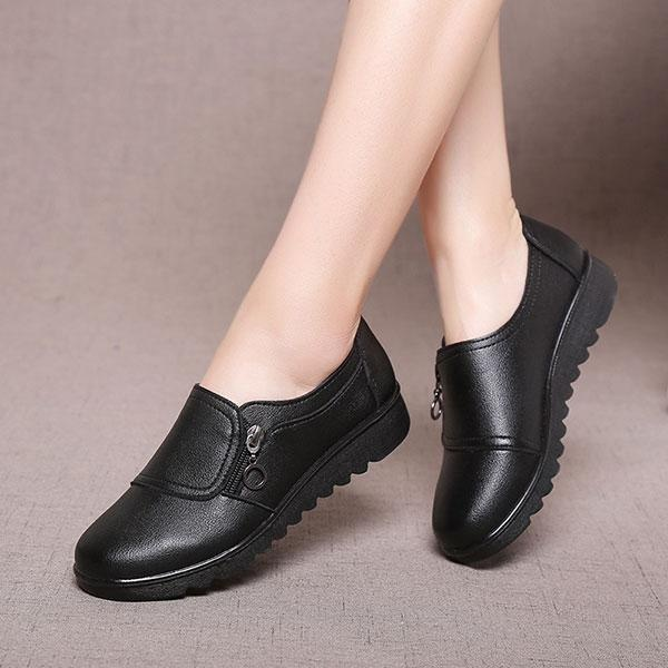 Spesifikasi Fashion Women New Casual Kulit Slip On Outdoor Flat Pantofel Perahu Sepatu Intl Terbaru
