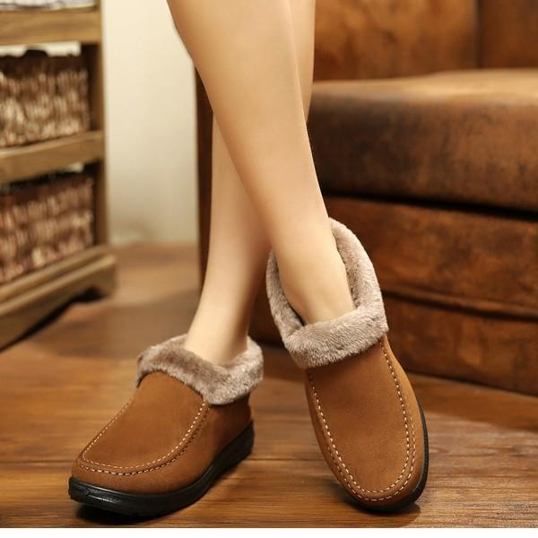 Ulasan Tentang Fashion Women Suede Wool Lining Slip On Ankle Short Snow Winter Boots Intl