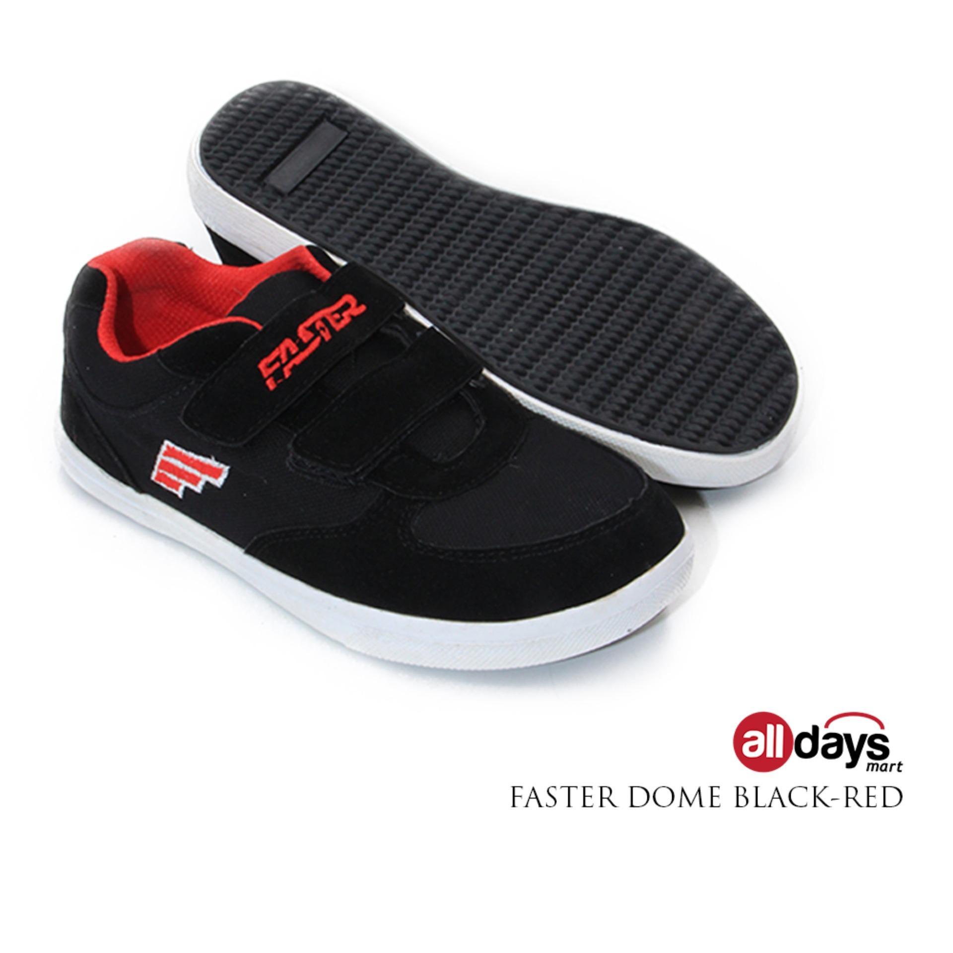 Harga Faster Sepatu Sneaker Sekolah Anak Laki Laki Velcro Dome Black Red Terbaik