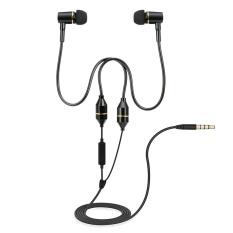 FC12 Stereo Musik Headset Air Tube 3.5mm Anti-radiasi Earphone In-Ear Headphone Radiasi Free Noise Reduction Line Control dengan MIC Hitam untuk Smart Phones Desktop Notebook Tablet PC-Intl