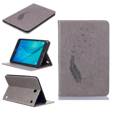 Feather PU Leather Case Flip Wallet Stand Cover for Samsung Galaxy Tab A 8.0 T350 (Grey)