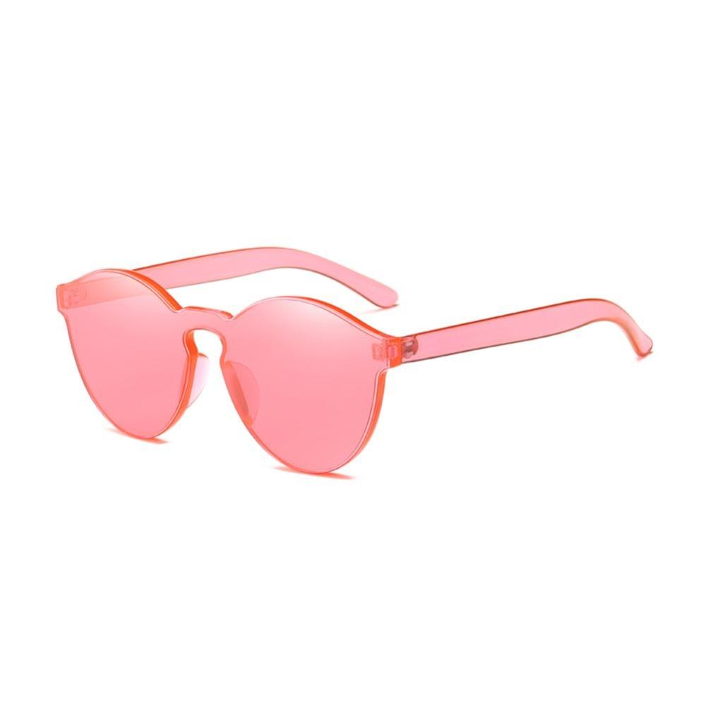Female Frameless Bening Kopel Lensa Berwarna-Warni Paling Trendi Kacamata Hitam Chic (Merah)-Satu Ukuran