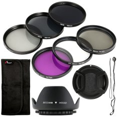 Filter Set + Lens Hood 58mm For Canon T4i T4 T3i T2i 450d 400d 350d 1000d Lf134-Sz (hitam) By 3d Pro Xcsource.