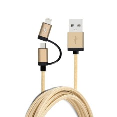 Review Firstseller 2 In 1 Aluminium Mfi Bersertifikat Asli Usb Kabel Data Sinkronisasi Untuk Apple Iphone 6 6 Plus Micro Usb Untuk Samsung Emas