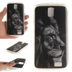 Fit Soft TPU Phone Balik Case Cover untuk Lenovo A328 (Black Lion)
