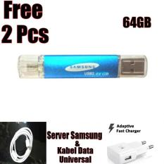 Flashdisk Samsung 64GB OTG FLASH DRIVE Free Server Batok Samsung+Kabel Data Universal+Noosy CNN