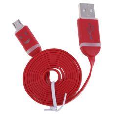 Cahaya Wajah Senyum Datar Micro USB Data Sync Charger Cable untuk Samsung Merah