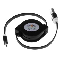 Flat Retractable Micro USB Data Kabel Charger untuk Samsung HTCBlackBerry Nokia Hitam-Intl