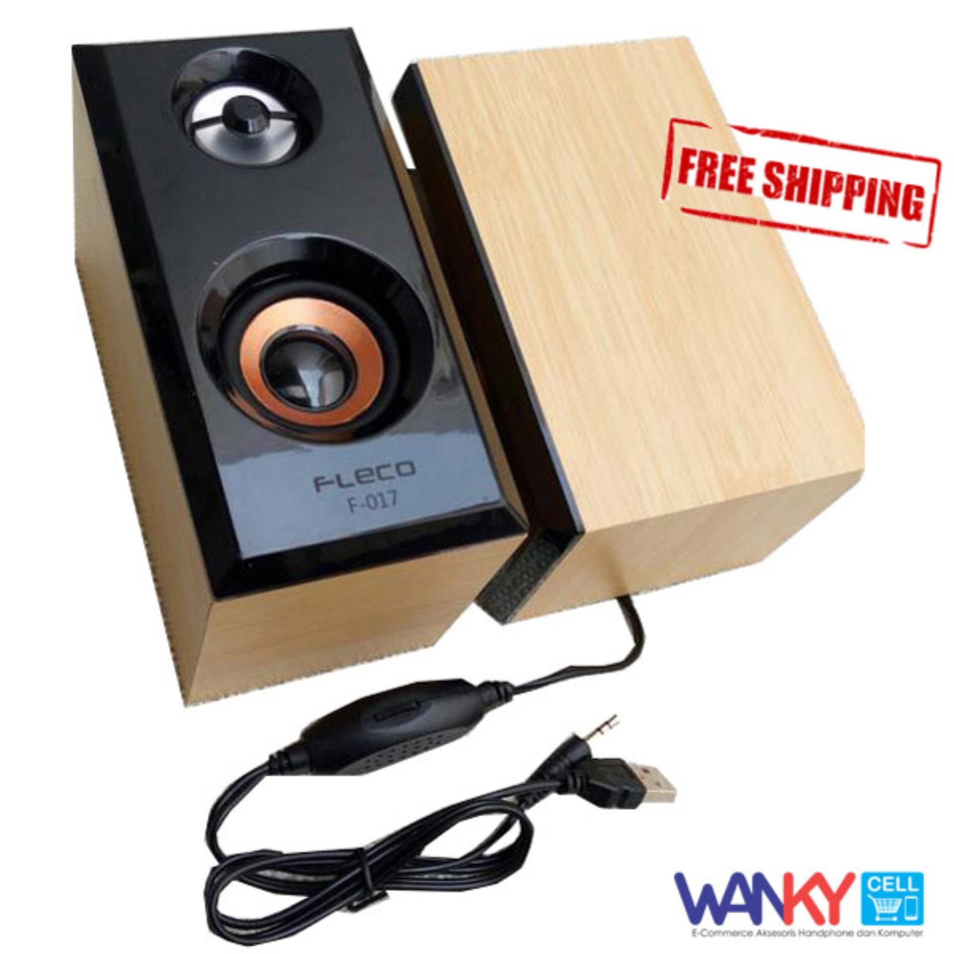 Kualitas Fleco F 017 Wooden Speaker Pc Mini Usb 2 Cream Wanky