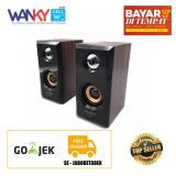 Fleco F 017 Wooden Speaker Pc Mini Usb 2 Coklat Wanky Diskon 40