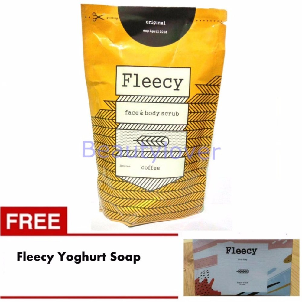 Jual Fleecy Face Body Scrub Coffee Gratis Fleecy Yoghurt And Milk Soap Jawa Barat Murah