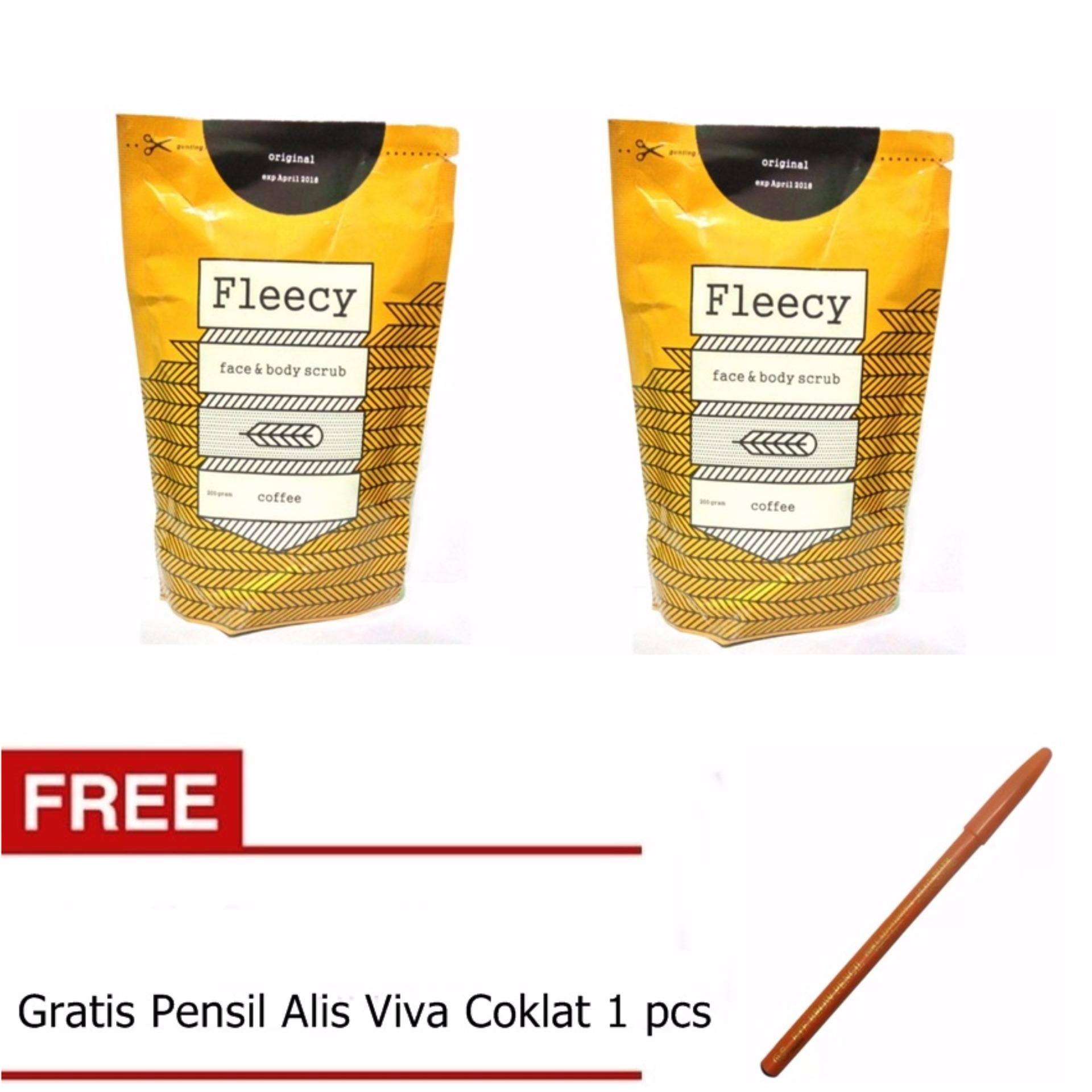 Ulasan Fleecy Face Body Scrub Original New Pack Coffee 2 Pack Gratis Pensil Alis Viva Coklat 1 Pcs