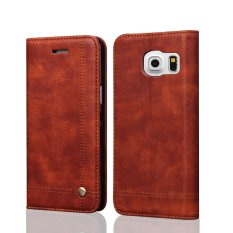 Flip Case S untuk Samsung Galaxy S7 Sm-g930/g930f 5.1 Inch Android Sistem Smartphone-menggambar Magnet Desain Stand Fitur Shock Menyerap Premium Soft PU Dompet Kulit Cover Case (Brown) -Intl