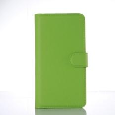 Flip Leather Case Dibangun Di Slot Kartu untuk Lenovo A5860 Hijau-Intl
