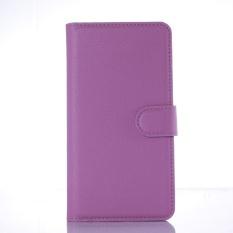 Flip Leather Case Dibangun Di Slot Kartu untuk Lenovo A5860 Ungu-Intl