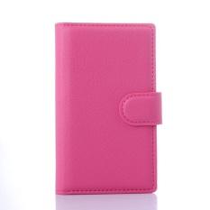Flip Leather Case Dibangun Di Slot Kartu untuk Microsoft Lumia 435 Rose Red-Intl