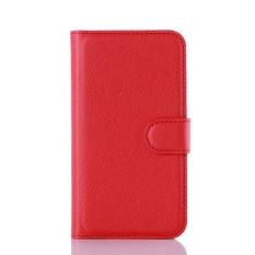 Flip Leather Case Dibangun Di Slot Kartu untuk Microsoft Lumia 550 Merah-Internasional