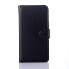 Flip Leather Case Dibangun Di Slot Kartu untuk Microsoft Lumia 640 Hitam-Internasional