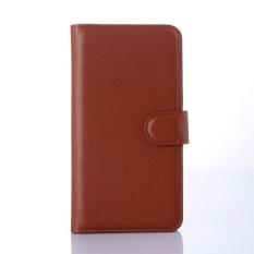 Flip Leather Case Dibangun Di Slot Kartu untuk Microsoft Lumia 640 Brown-Intl