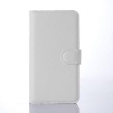 Flip Leather Case Dibangun Di Slot Kartu untuk Microsoft Lumia 640 Putih-Internasional