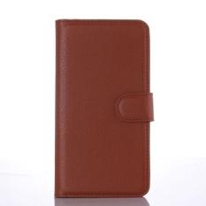 Flip Leather Case Dibangun Di Slot Kartu untuk Microsoft Lumia 650 Brown-Intl