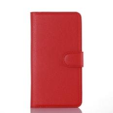 Flip Leather Case Dibangun Di Slot Kartu untuk Microsoft Lumia 650 Merah-Internasional