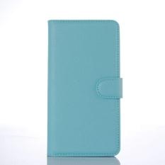 Flip Leather Case Dibangun Di Slot Kartu untuk Microsoft Lumia 850 Blue-Intl